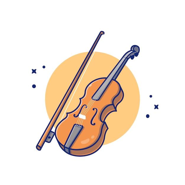 Illustrazione dell'icona del fumetto di musica di legno del violino. premio isolato concetto dell'icona dello strumento di musica. stile cartone animato piatto Vettore Premium