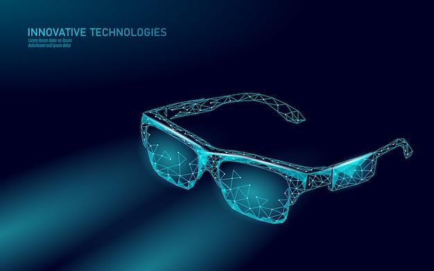Occhiali per realtà aumentata virtuale. innovazione media intrattenimento concetto poligonale. illustrazione del cinema di tecnologia web connection. Vettore Premium