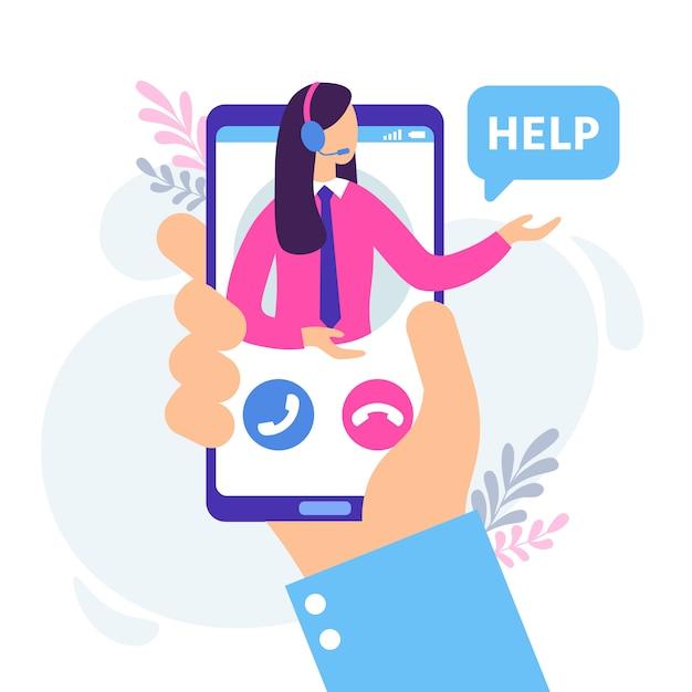 Assistente femminile virtuale. servizio di assistenza personale, chat di supporto tecnico e hotline personale online consultare l'illustrazione Vettore Premium
