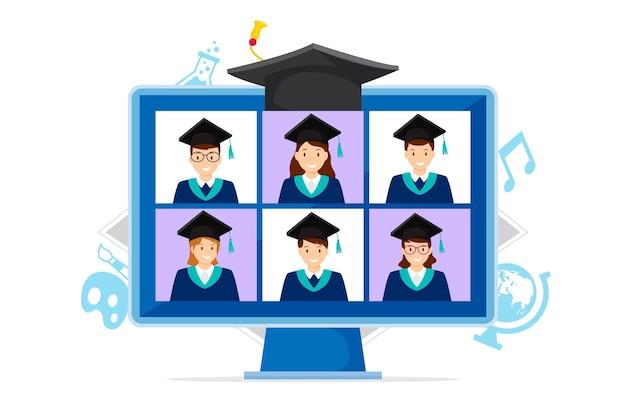 Concetto di cerimonia di laurea virtuale Vettore Premium