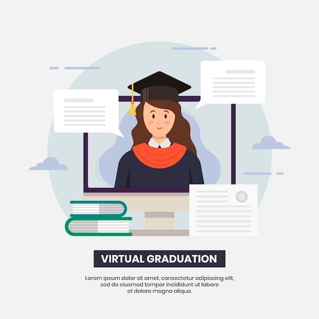 Cerimonia di laurea virtuale Vettore Premium