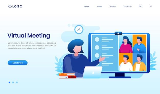 Modello di sito web della pagina di destinazione del lavoratore di riunione virtuale Vettore Premium