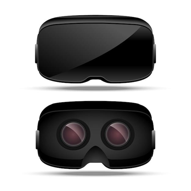 Dispositivo di concetto di realtà virtuale. intrattenimento elettronico digitale. vetro vr. vista frontale e posteriore della tecnologia dell'innovazione. Vettore Premium