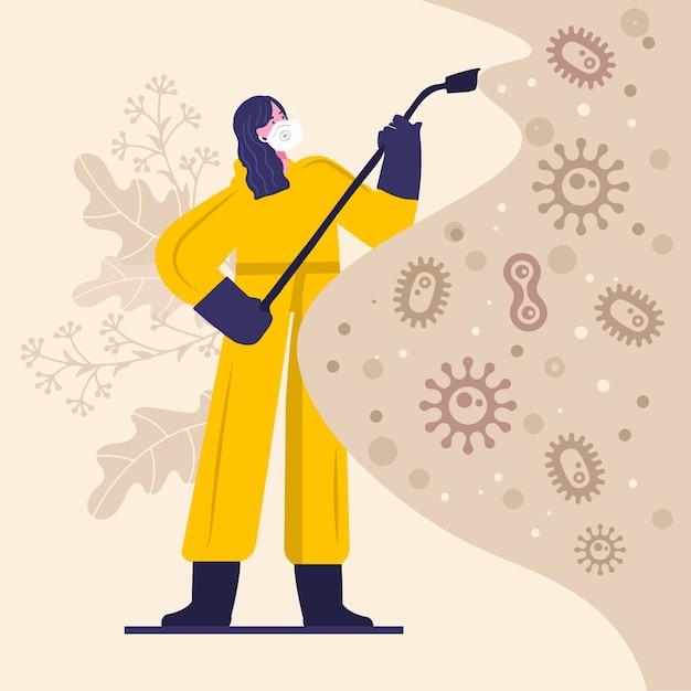 Tema dell'illustrazione di disinfezione del virus Vettore Premium