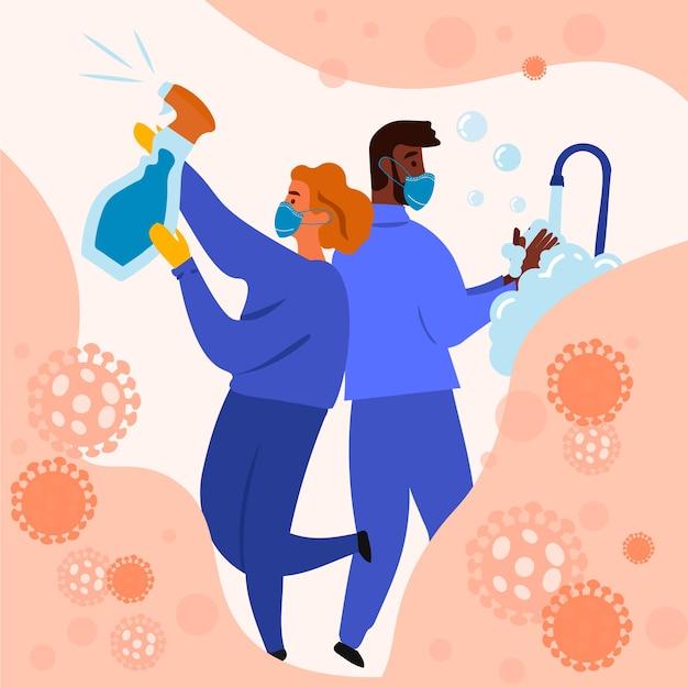 Illustrazione di disinfezione da virus Vettore Premium