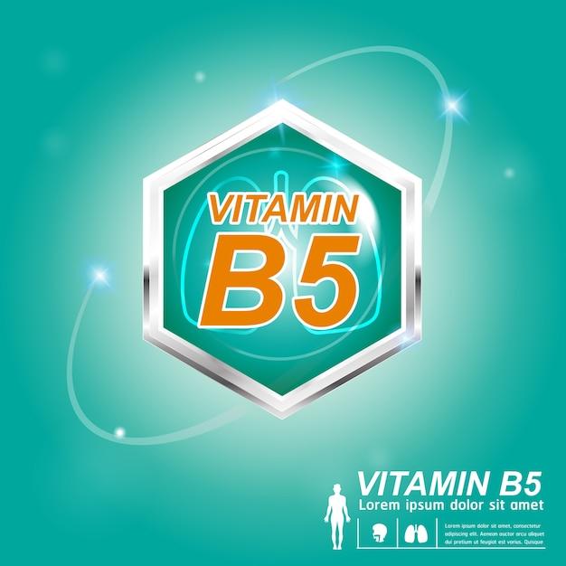 Concetto di etichetta logo nutrizione vitamina b Vettore Premium