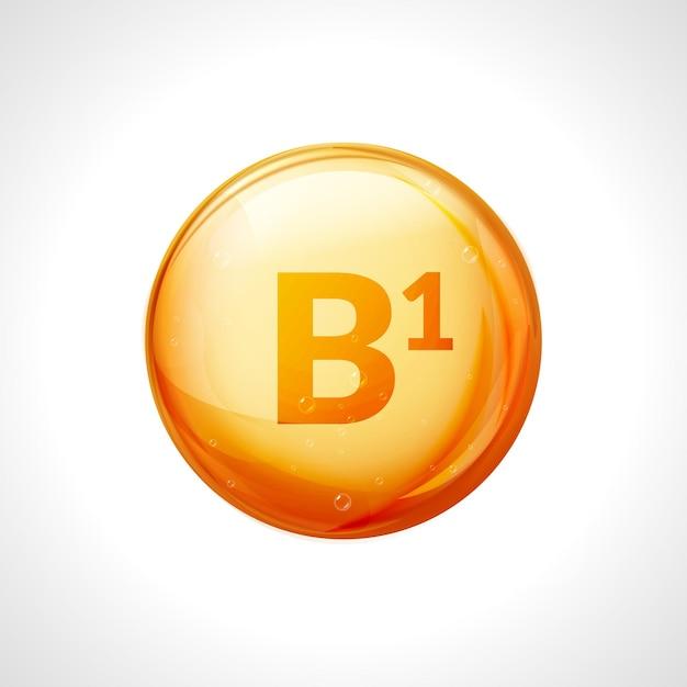 Vitamina b1 isolata su bianco. simbolo di salute della medicina della tiamina. vitamina b1 chimica naturale. Vettore Premium