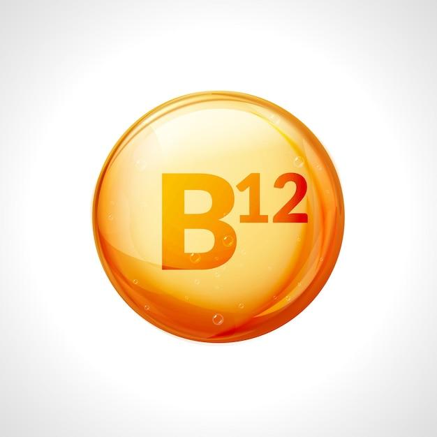 Pillola d'oro di vitamina b12. complesso vitaminico con gruppo b, cianocobalamina, farmaco idrossicobalamina. Vettore Premium
