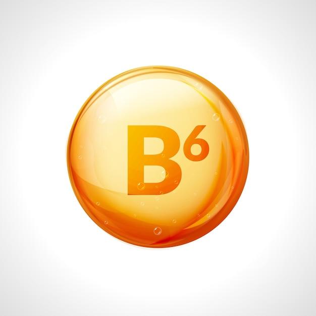 Pillola di vitamina b6. cura nutrizionale della piridossina. essenza goccia d'oro. simbolo dorato isolato della medicina della vitamina b6. Vettore Premium