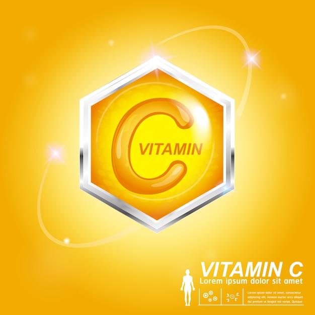 Concetto di etichetta logo nutrizione vitamina c Vettore Premium