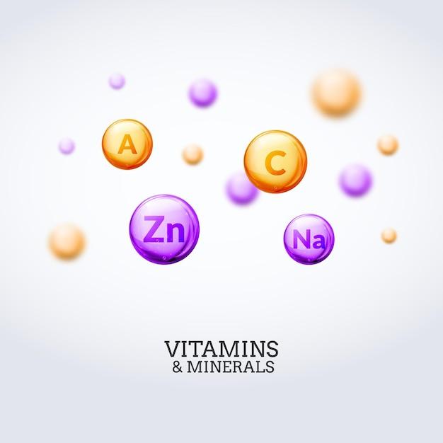Sfondo di elementi colorati minerali di vitamina. illustrazione di concetto di vitamine e minerali di assistenza sanitaria. Vettore Premium