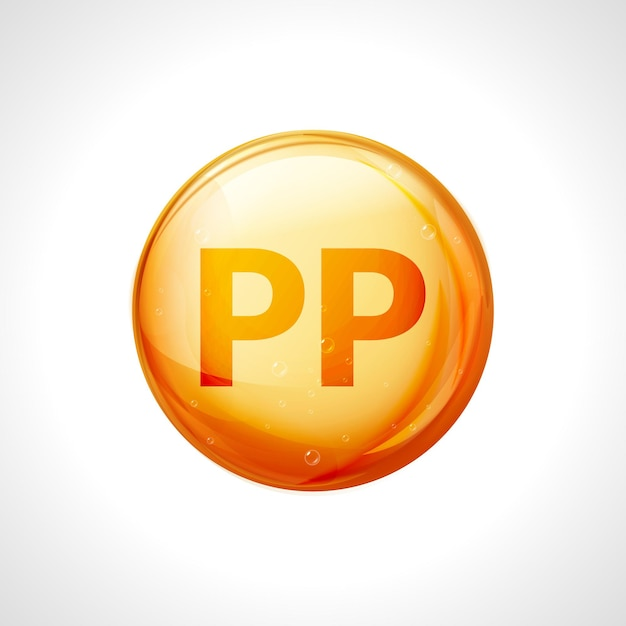 Pillola d'oro di vitamina pp. capsula di nicotinamide vitamina goccia. complesso terapeutico vitaminico pp. Vettore Premium