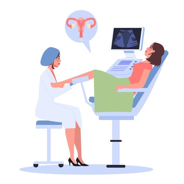 Fase di fecondazione in vitro. medico che immette l'embrione nell'utero della donna. gravidanza artificiale con l'aiuto della tecnologia moderna. Vettore Premium