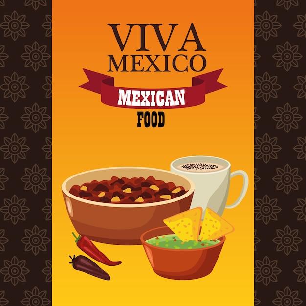 Viva mexico lettering e cibo messicano con fagioli fritti e nachos. Vettore Premium