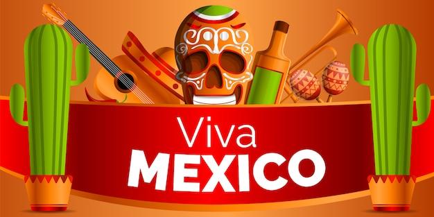 Viva mexico. stile cartone animato musica messicana Vettore Premium