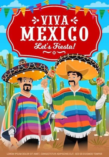Manifesto di viva mexico con banda musicale di musicisti messicani. Vettore Premium