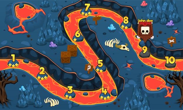 La mappa del livello di gioco del vulcano Vettore Premium
