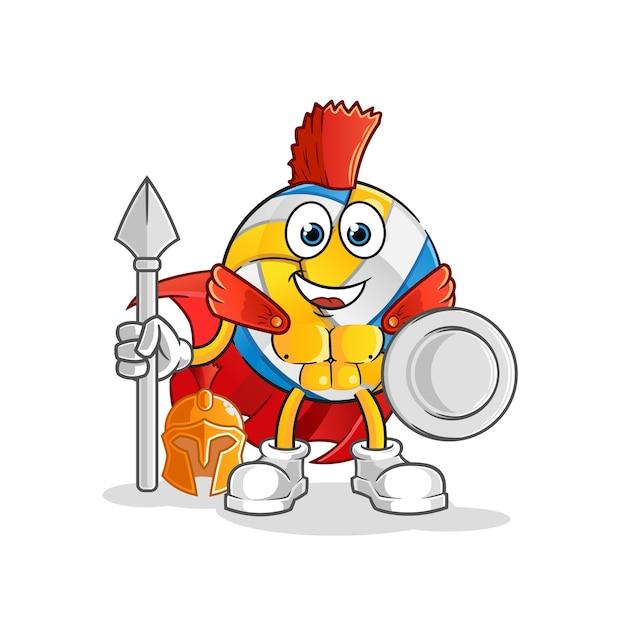 Personaggio spartano di pallavolo. mascotte dei cartoni animati Vettore Premium