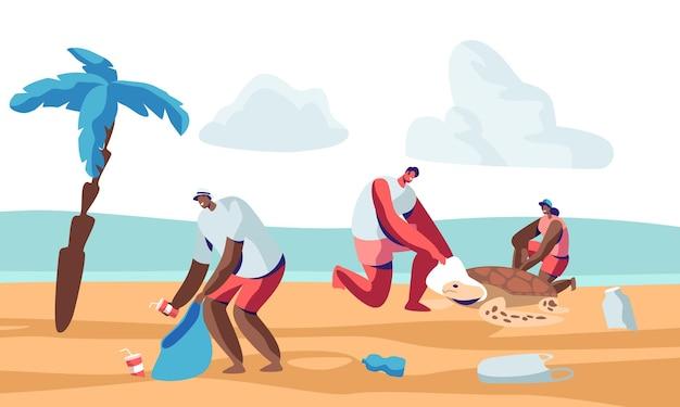 Volontari che puliscono i rifiuti sulla spiaggia e salvano le torture. cartoon illustrazione piatta Vettore Premium