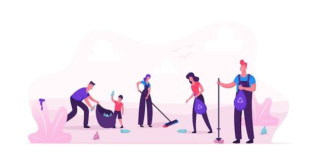 Persone volontarie che puliscono i rifiuti nella zona del parco cittadino. cartoon illustrazione piatta Vettore Premium