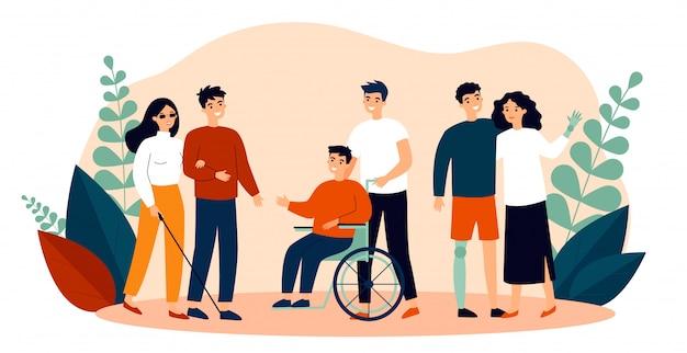 Volontari che aiutano le persone disabili Vettore Premium