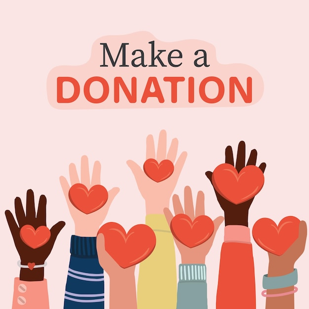 Volontari, assistenti sociali che tengono i cuori nelle palme. bambini e persone internazionali che alzano la mano. Vettore Premium