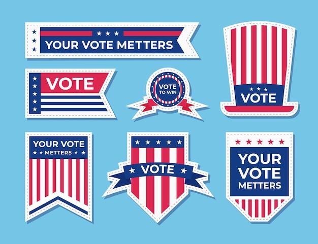 Distintivi e adesivi di voto Vettore Premium