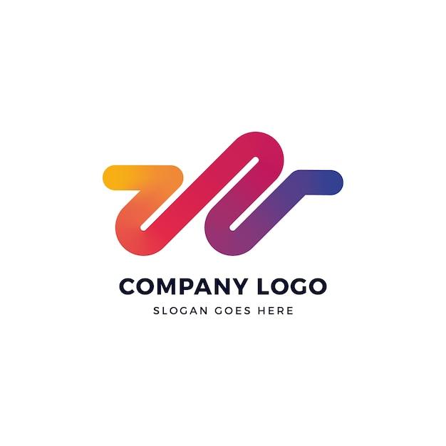W letter gradient logo design Vettore Premium