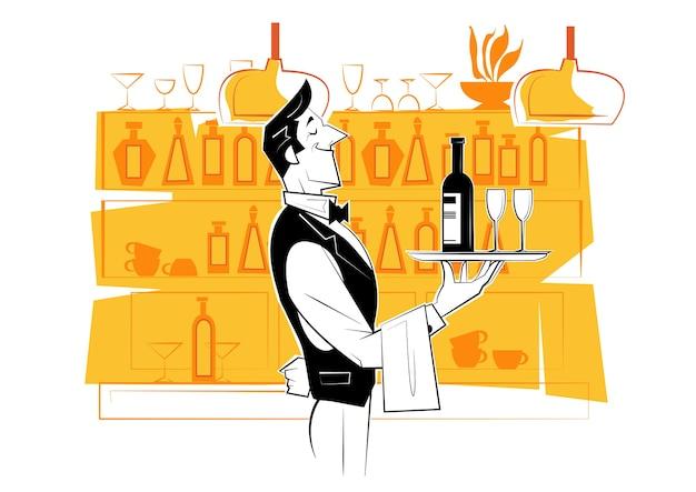 Cameriere che tiene un vassoio d'argento con una bottiglia di vino e bicchieri di vino. Vettore Premium