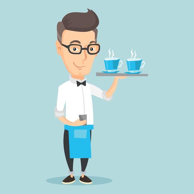 Vassoio di detenzione cameriere con tazze di caffè o tè. Vettore Premium