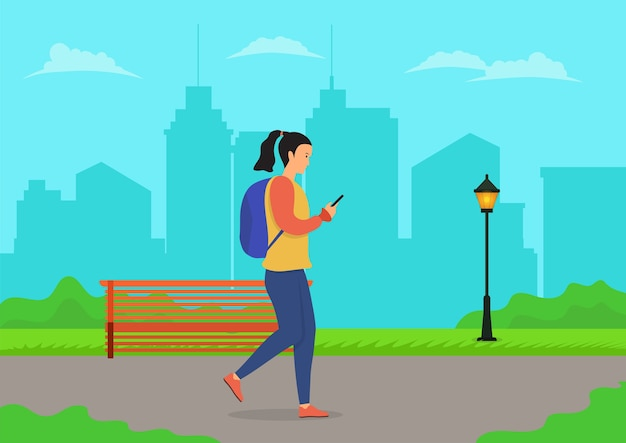 Donne che camminano utilizzando il telefono cellulare nel parco cittadino. illustrazione piatta Vettore Premium