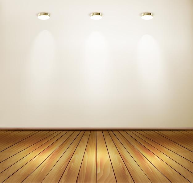 Parete con faretti e pavimento in legno. concetto di showroom. Vettore Premium