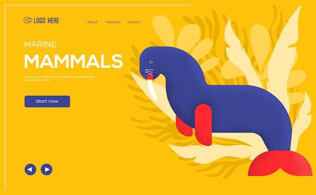 Volantino del concetto di tricheco, banner web, intestazione dell'interfaccia utente, entra nel sito. . Vettore Premium