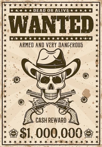 Modello di poster occidentale vintage ricercato con teschio da cowboy nel cappello, pistole incrociate e fori di proiettile Vettore Premium