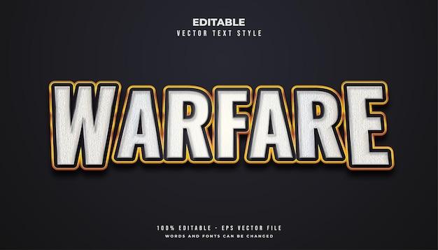 Stile di testo warfare in bianco e oro con effetto texture Vettore Premium