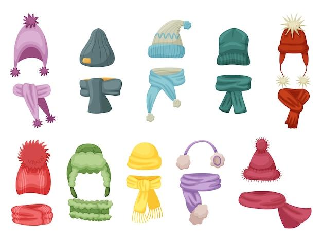 Abbigliamento caldo. cappello autunnale e invernale, berretto in maglia con sciarpa calda e sciarpe su sfondo bianco. illustrazione calda dell'usura della testa e del collo. accessorio dei vestiti dei bambini per il freddo Vettore Premium