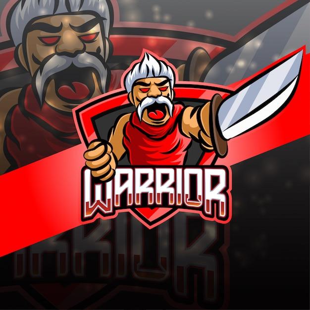 Warrior esport logo design della mascotte Vettore Premium