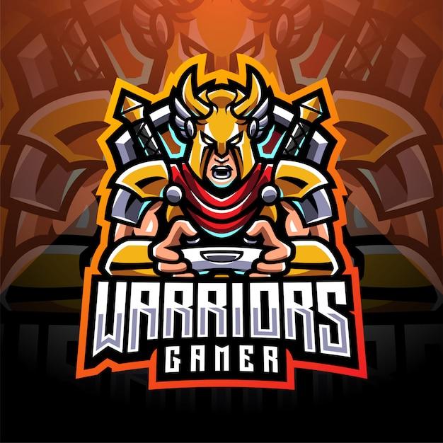Logo della mascotte di esport del giocatore guerriero Vettore Premium