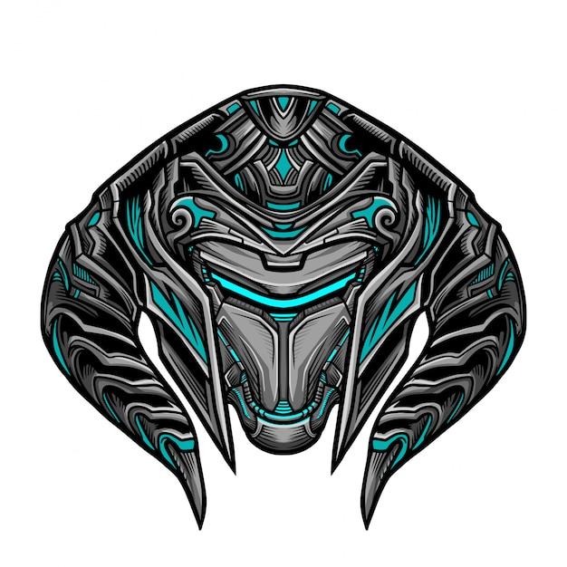 Guerriero robot blue mask Vettore Premium