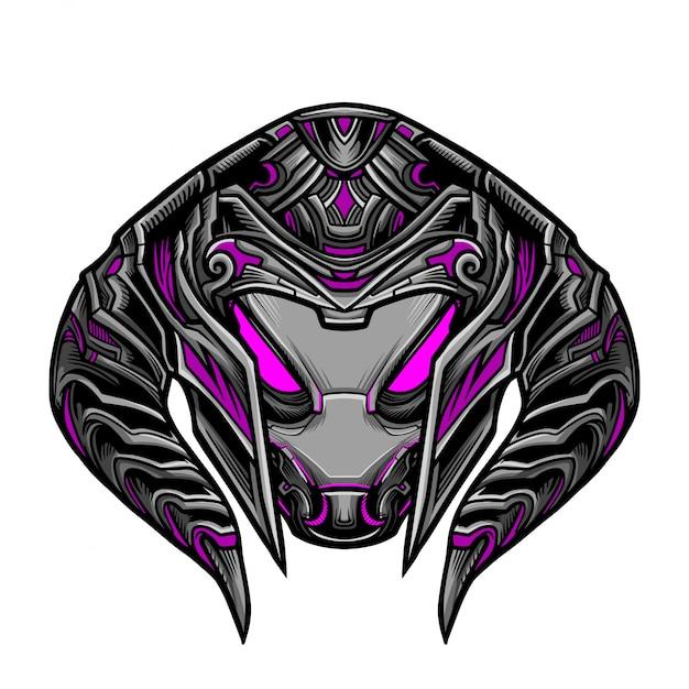 Maschera magenta guerriero robot Vettore Premium