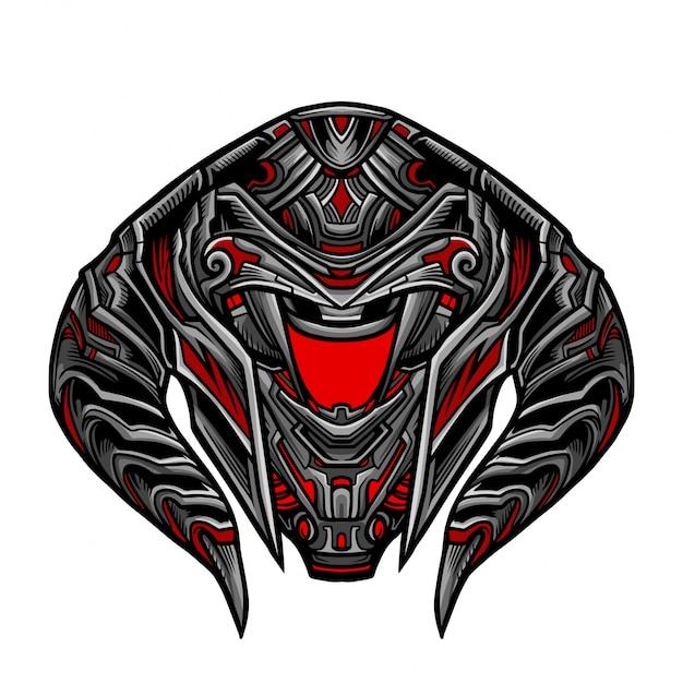 Warrior robot red mask Vettore Premium