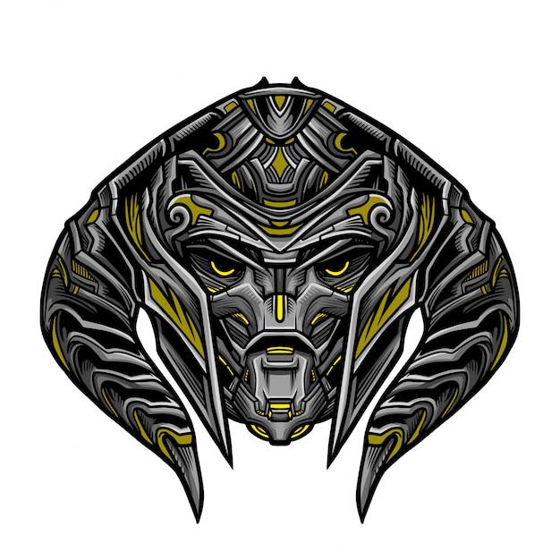 Warrior robot yellow mask Vettore Premium
