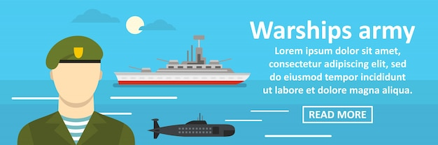 Concetto orizzontale dell'insegna dell'esercito delle navi da guerra Vettore Premium