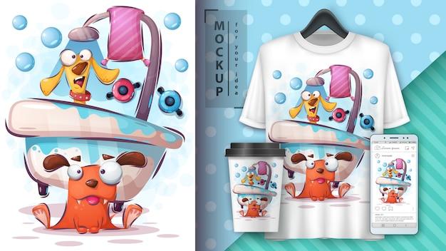Illustrazione e merchandising del cane di lavaggio Vettore Premium