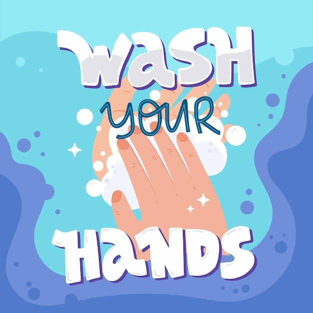 Lavati le mani per 20 secondi Vettore Premium