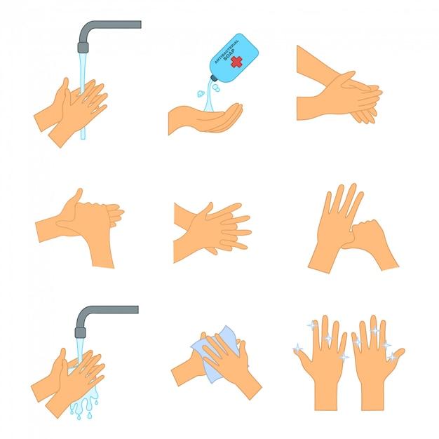 Lavarsi le mani con sapone. come lavarsi le mani per prevenire l'infezione da coronavirus. igiene personale, prevenzione delle malattie Vettore Premium
