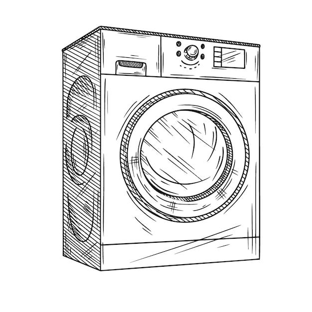 Lavatrice su sfondo bianco. illustrazione di uno stile di schizzo. Vettore Premium
