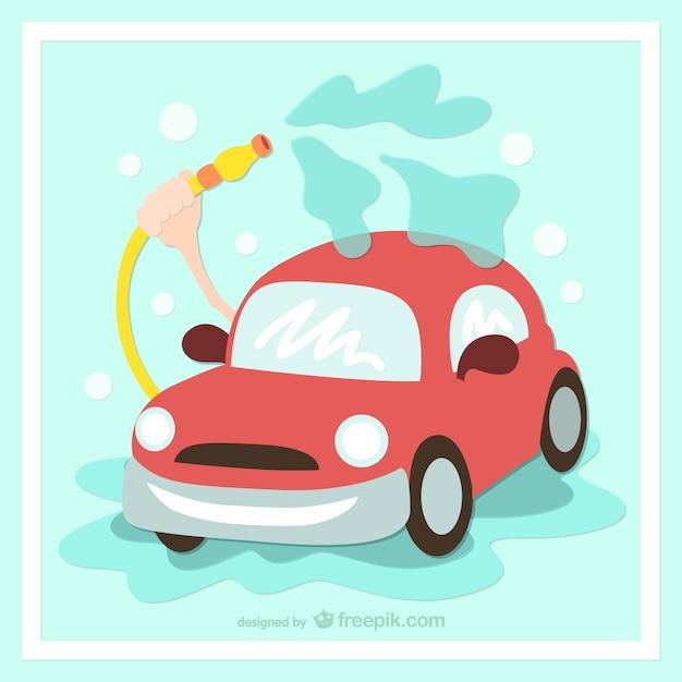 Lavare l'auto cartone animato Vettore Premium