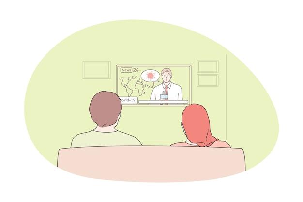 Guardare la televisione, programmi, notizie, concetto di previsioni del tempo. Vettore Premium