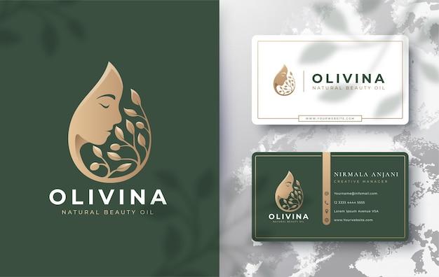 Goccia d'acqua / olio d'oliva con logo silhouette donna e design biglietto da visita Vettore Premium